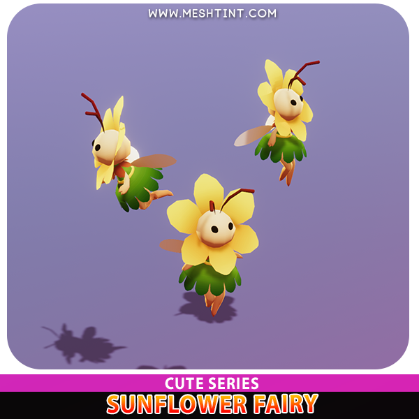 Sunflower Fairy Cute pixie genie nymph Meshtint 3d model unity low poly game fantasy
