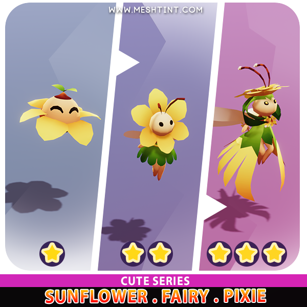 Sunflower Fairy Pixie Evolution Cute Meshtint 3d model unity low poly game fantasy creature monster
