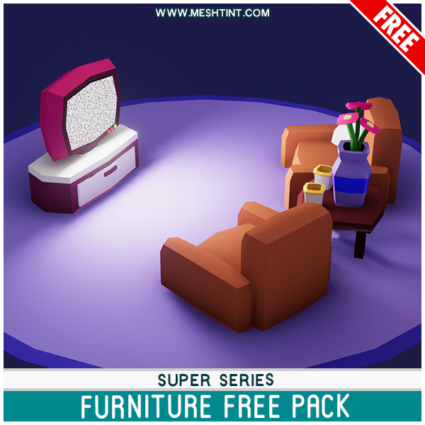 Meshtint Free Super Furniture Pack Mesh Tint Shop3DSA Unity3D Game Low Poly Download 3D Model