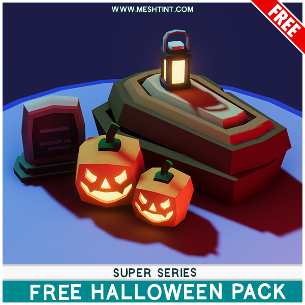 Meshtint Free Super Halloween Pack Mesh Tint Shop3DSA Unity3D Game Low Poly Download 3D Model