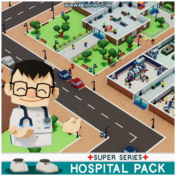 Super Hospital Pack Mesh Tint Shop3DSA Unity3D Game Low Poly Download 3D Model