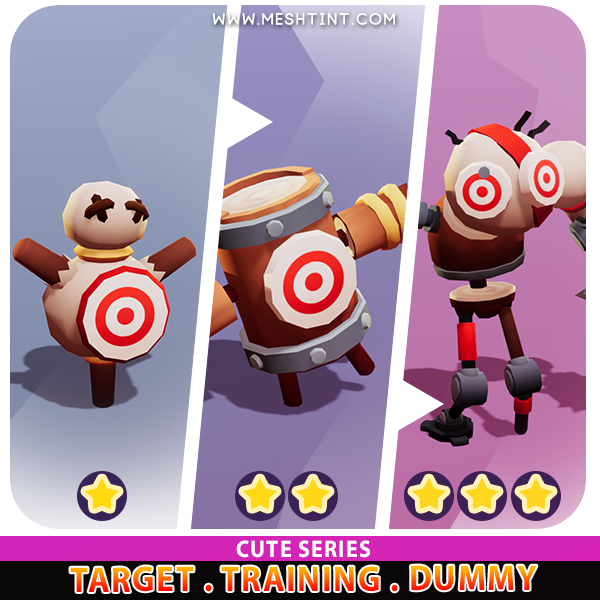 Target Training Dummy Evolution Cute Meshtint 3d model unity low poly game fantasy creature monster