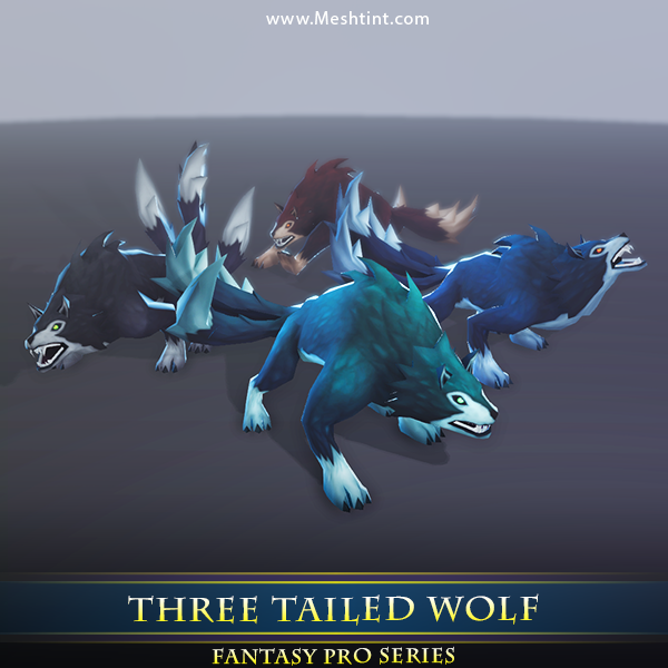 Three Tailed Wolf 1.1 Mesh Tint Shop3DSA Unity3D Game Low Poly Download 3D Model