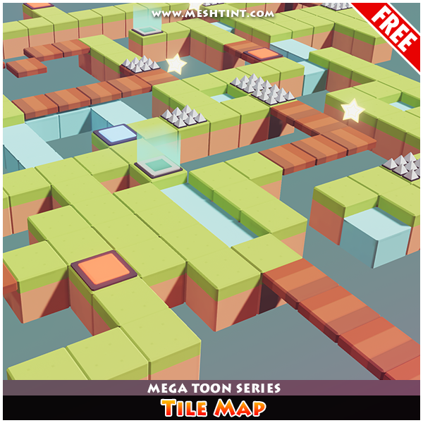 Meshtint Free Tile Map Mega Toon Series Mesh Tint Shop3DSA Unity3D Game Low Poly Download 3D Model