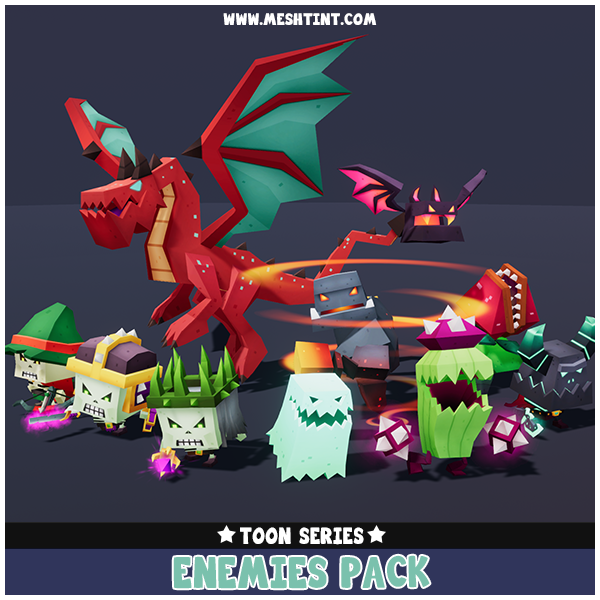 Toon Enemies Pack 1.1 Mesh Tint Shop3DSA Unity3D Game Low Poly Download 3D Model
