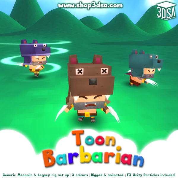 Toon Barbarian Mesh Tint Shop3DSA Unity3D Game Low Poly Download 3D Model