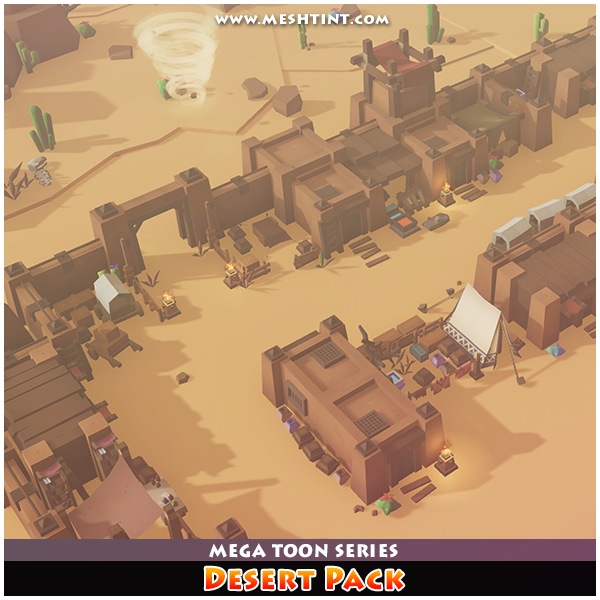 Mega Toon Desert Pack 1.1 Mesh Tint Shop3DSA Unity3D Game Low Poly Download 3D Model