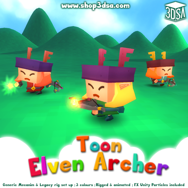 Toon Elven Archer 1.1 Mesh Tint Shop3DSA Unity3D Game Low Poly Download 3D Model