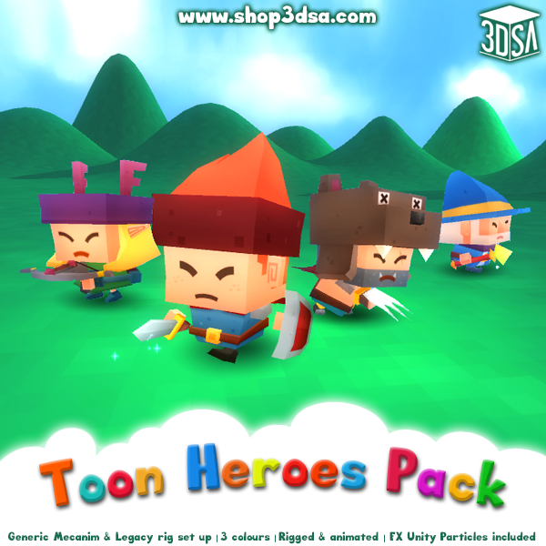 Toon Heroes Pack Mesh Tint Shop3DSA Unity3D Game Low Poly 3D Model