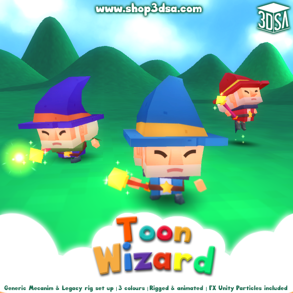 Toon Wizard Mesh Tint Shop3DSA Unity3D Game Low Poly Download 3D Model