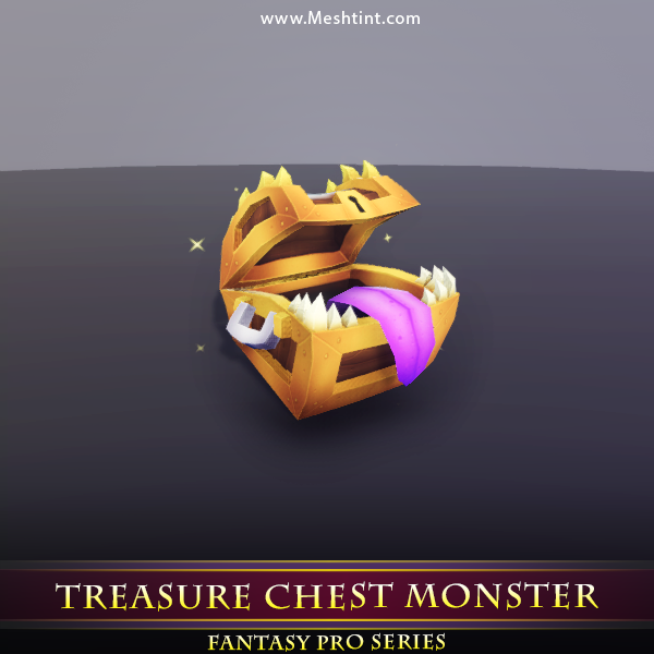 Treasure Chest Monster Mesh Tint Shop3DSA Unity3D Game Low Poly Download 3D Model