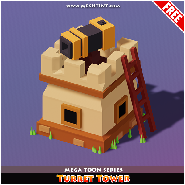 Meshtint Free Turret Tower Mega Toon Series Mesh Tint Shop3DSA Unity3D Game Low Poly Download 3D Model