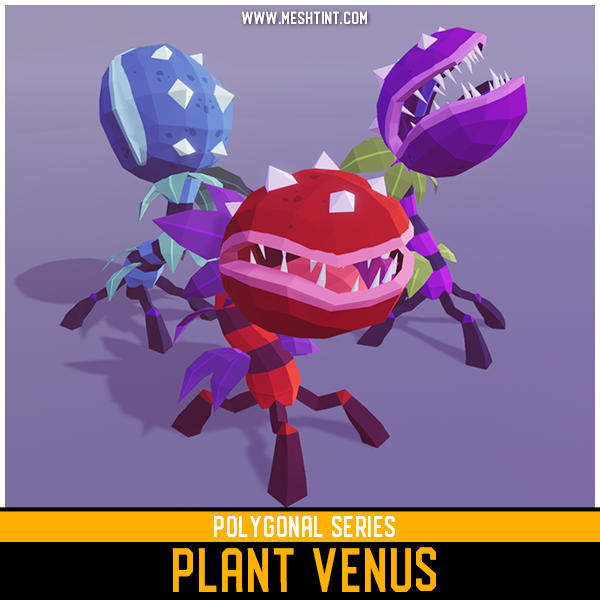Polygonal Plant Venus Mesh Tint Shop3DSA Unity3D Game Low Poly Download 3D Model