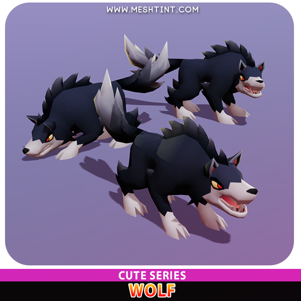 Wolf Cute husky dog Meshtint 3d model unity low poly game fantasy creature monster