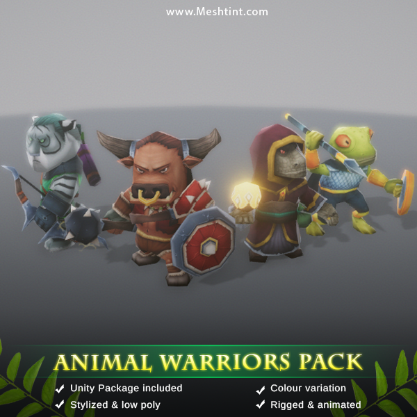 Animal Warriors Pack Mesh Tint Shop3DSA Unity3D Game Low Poly Download 3D Model