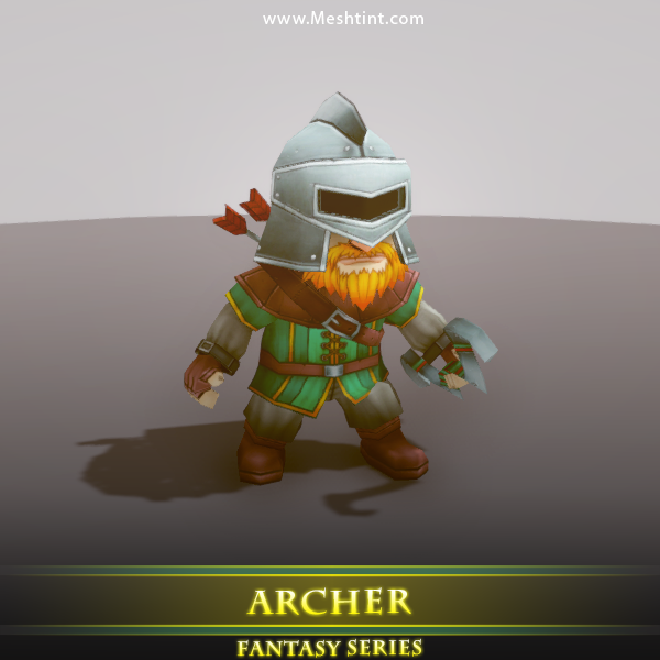 Archer Mesh Tint Shop3DSA Unity3D Game Low Poly Download 3D Model