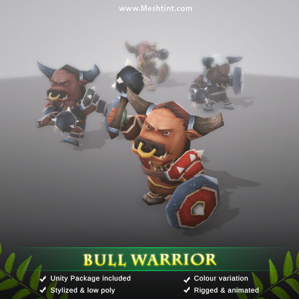 Bull Warrior 1.3 Mesh Tint Shop3DSA Unity3D Game Low Poly Download 3D Model