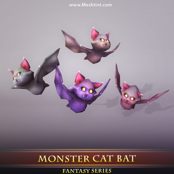 Monster Cat Bat Mesh Tint Shop3DSA Unity3D Game Low Poly Download 3D Model