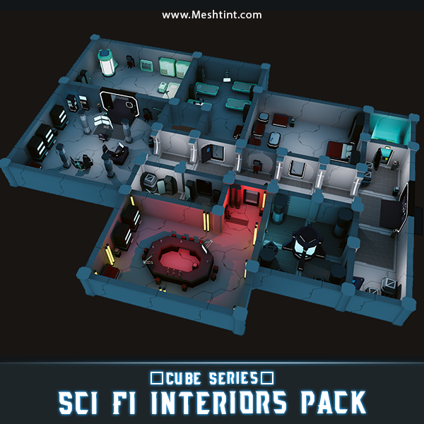 CUBE - Sci Fi Interiors Pack Mesh Tint Shop3DSA Unity3D Game Low Poly Download 3D Model
