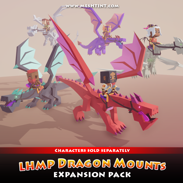 meshtint studio 3D model unity asset store dragon mount character customize low poly simple game
