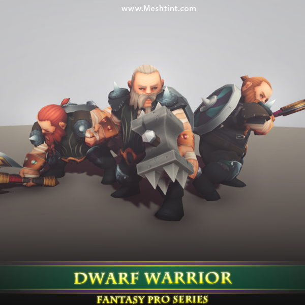 Dwarf Warrior 1.4 Mesh Tint Shop3DSA Unity3D Game Low Poly Download 3D Model