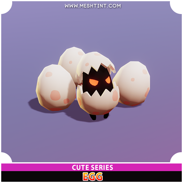 Cute Egg Egglet Meshtint 3d model character unity asset low poly game fantasy creature monster