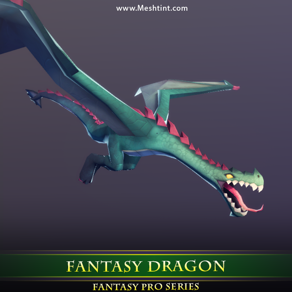 Fantasy Dragon 1.4 Mesh Tint Shop3DSA Unity3D Game Low Poly Download 3D Model
