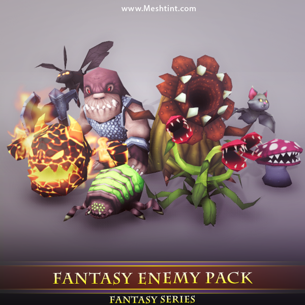Fantasy Enemy Pack 01 - Mesh Tint - Shop3DSA - Unity - 3D - Game - Low - Poly - Model - Animation