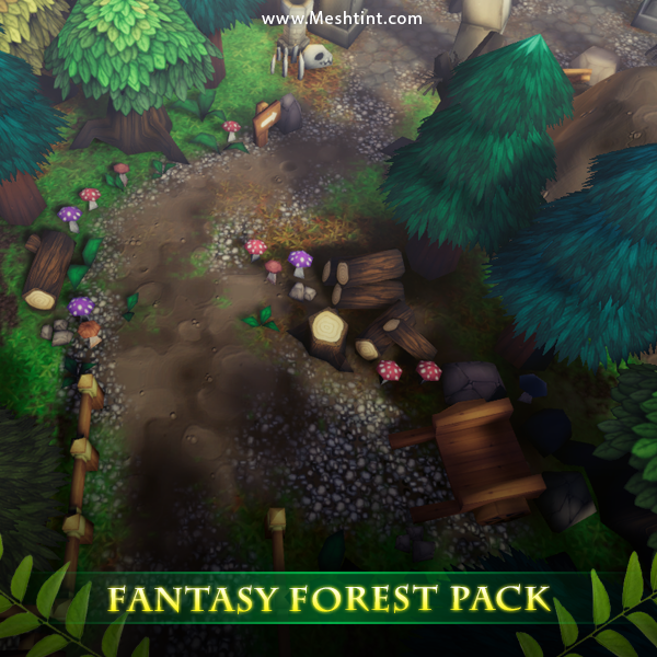 Top Down Fantasy Forest Pack Mesh Tint Shop3DSA Unity3D Game Low Poly Download 3D Model