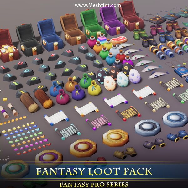 Fantasy Loot Pack 1.3 Mesh Tint Shop3DSA Unity3D Game Low Poly Download 3D Model