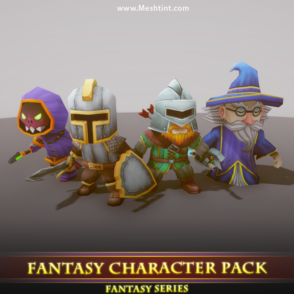 Fantasy Character Pack 01 Mesh Tint Shop3DSA Unity3D Game Low Poly Download 3D Model