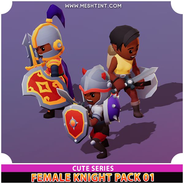 Female Knight Cute Meshtint 3d model modular character unity low poly game fantasy girl woman black