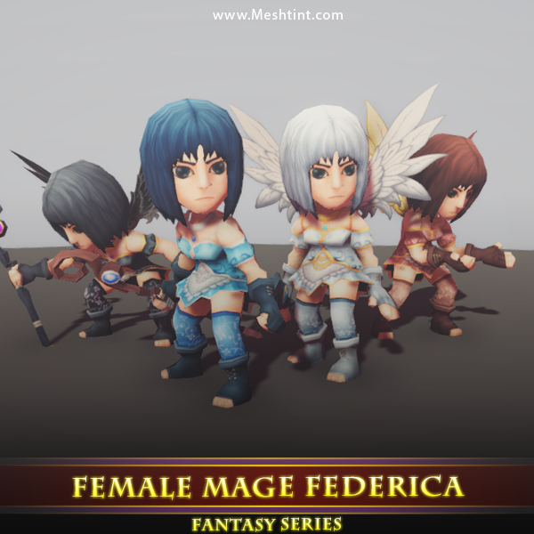 Female Mage Federica Mesh Tint Shop3DSA Unity3D Game Low Poly Download 3D Model