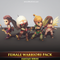 Female Warriors Pack Mesh Tint Shop3DSA Unity3D Game Low Poly Download 3D Model