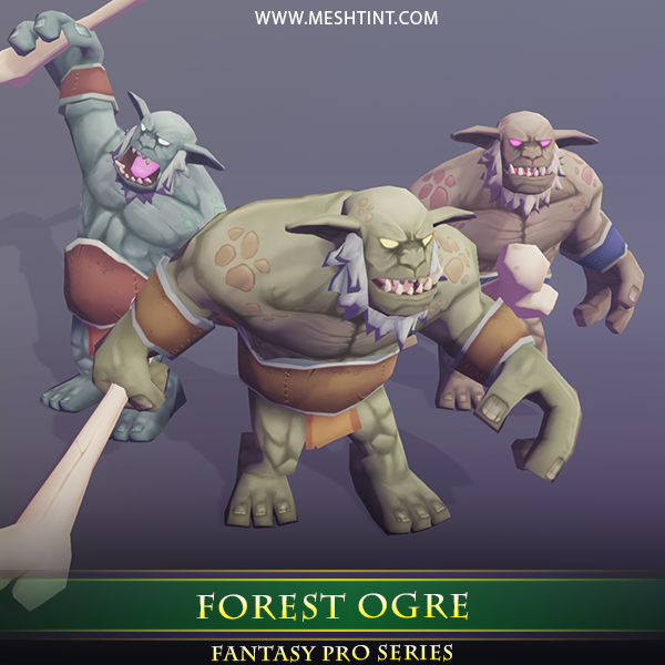 Forest Ogre 1.1 Mesh Tint Shop3DSA Unity3D Game Low Poly Download 3D Model
