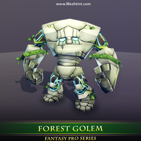Forest Golem 1.4 Mesh Tint Shop3DSA Unity3D Game Low Poly Download 3D Model