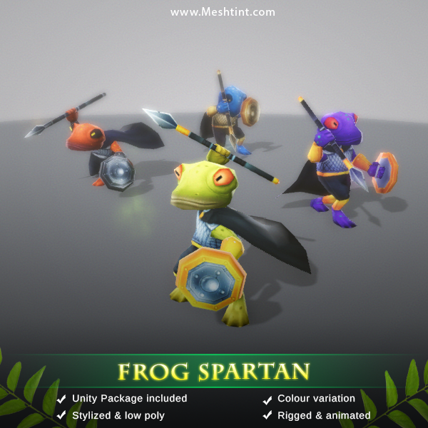 Frog Spartan 3d model meshtint studio low poly unity handpainted fantasy medival