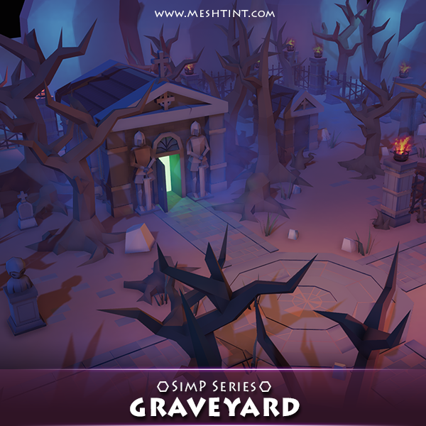 Graveyard Pack SimP Series Mesh Tint Shop3DSA Unity3D Game Low Poly Download 3D Model