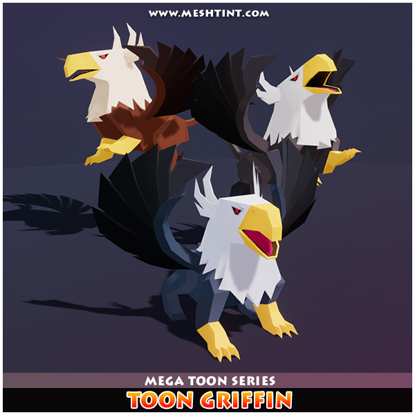 Mega Toon Griffin 1.1 Mesh Tint Shop3DSA Unity3D Game Low Poly Download 3D Model
