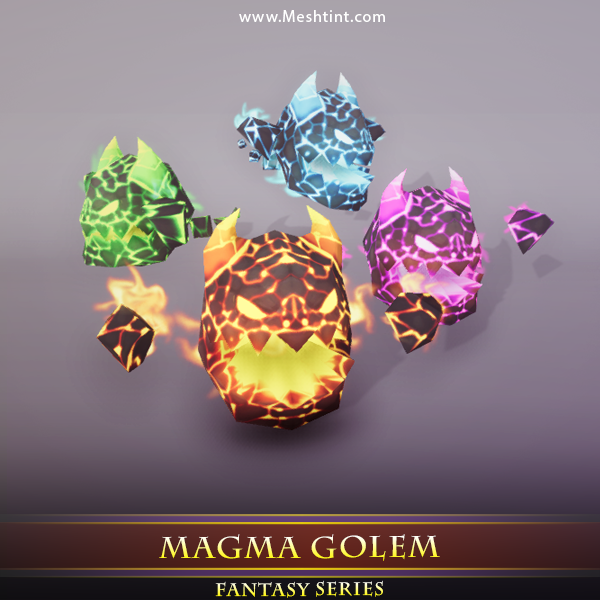 Magma Demon - Mesh Tint - Shop3DSA - Unity - 3D - Game - Low - Poly - Model - Animation