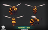 Hornet and Bee Pack Mesh Tint Shop3DSA Unity3D Game Low Poly Download 3D Model