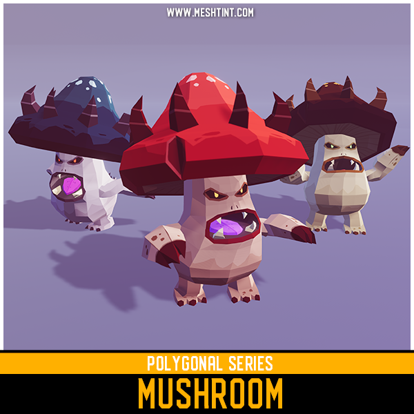 Polygonal Mushroom Mesh Tint Shop3DSA Unity3D Game Low Poly Download 3D Model