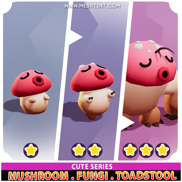 Mushroom Fungi Toadstool Evolution Pack Cute series Mesh Tint Shop3DSA Unity3D Game Low Poly Download 3D Model