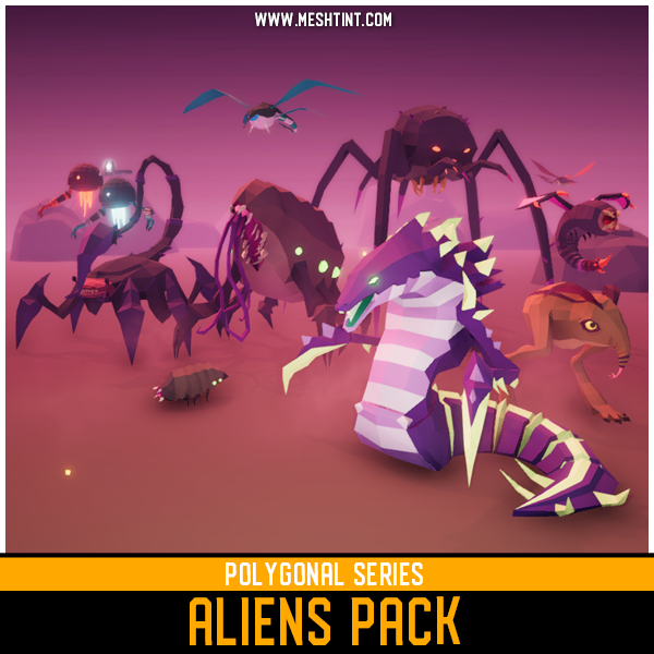 Polygonal Aliens Pack Mesh Tint Shop3DSA Unity3D Game Low Poly Download 3D Model