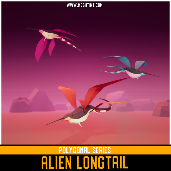 Polygonal - Alien Longtail Mesh Tint Shop3DSA Unity3D Game Low Poly Download 3D Model