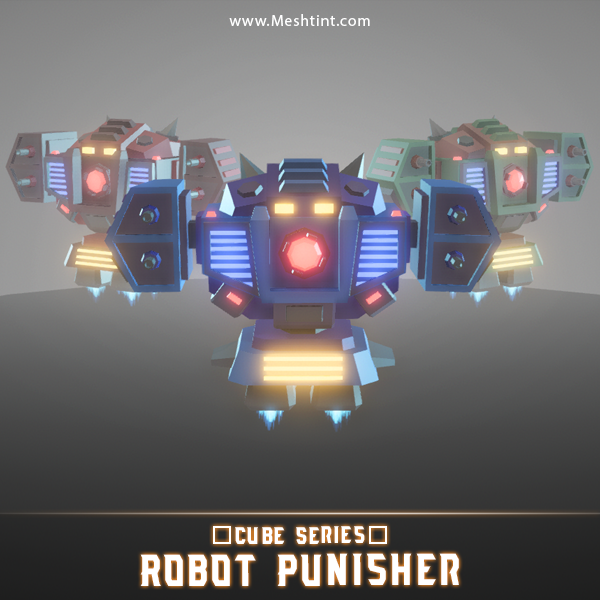 CUBE - Robot Punisher Mesh Tint Shop3DSA Unity3D Game Low Poly Download 3D Model