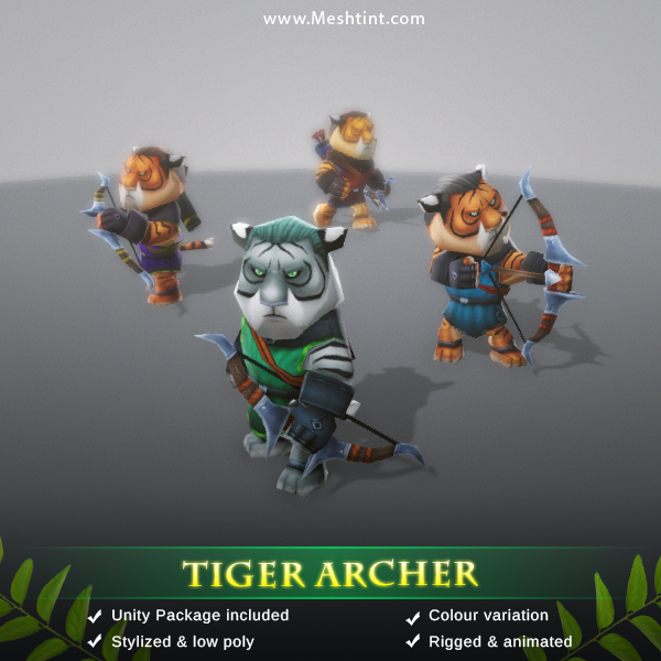 Tiger Archer Mesh Tint Shop3DSA Unity3D Game Low Poly Download 3D Model