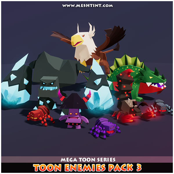 Toon Enemies Pack 3 Mesh Tint Shop3DSA Unity3D Game Low Poly Download 3D Model