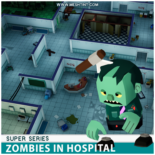 Super Zombies In Hospital Pack Mesh Tint Shop3DSA Unity3D Game Low Poly Download 3D Model