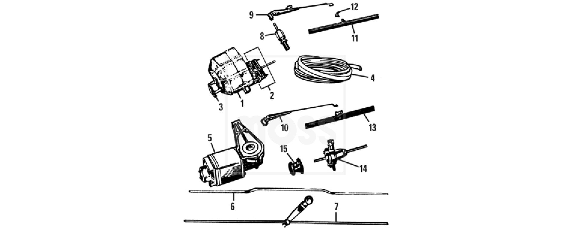 MG T Type Exterior WINDSCREENS & FITTINGS Wiper Motor Arms
